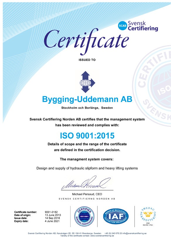 Bygging Uddemann ISO 9001