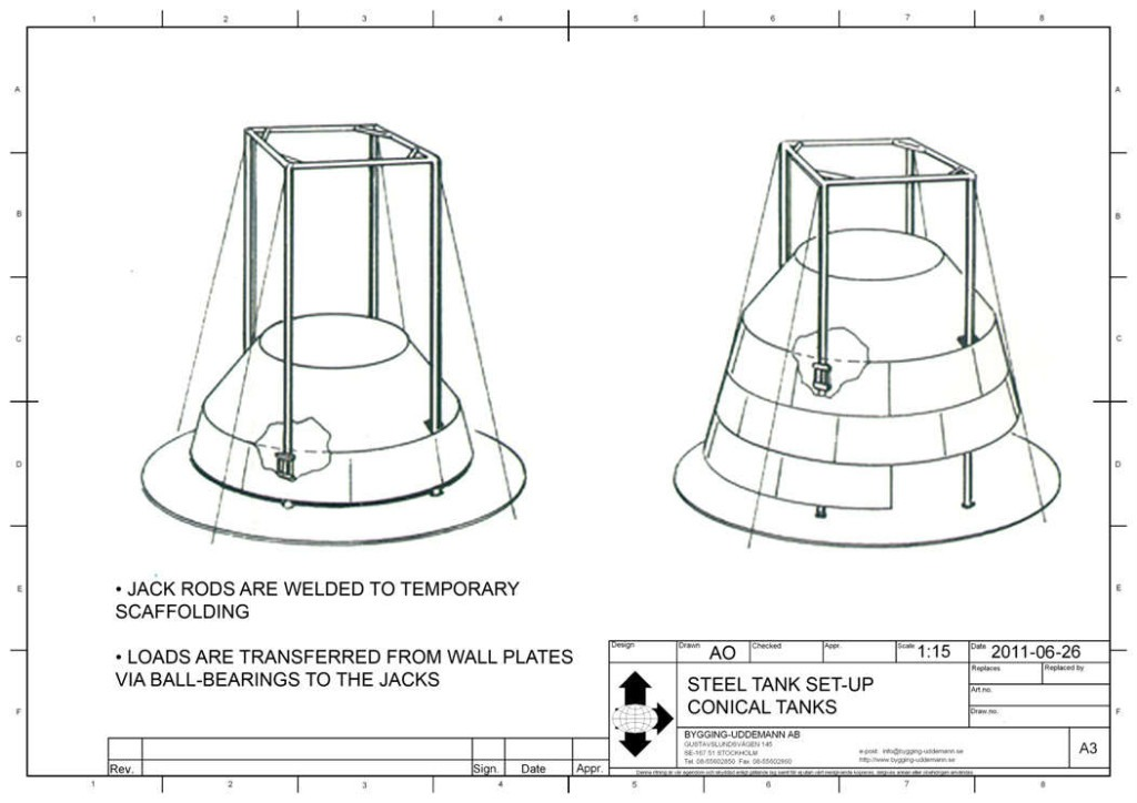 Steel tank set-up for conical tanks