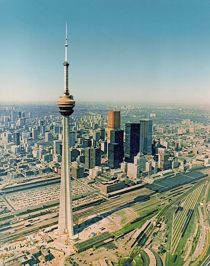 Lifting of Steel Structure, CN Tower - Toronto, Canada