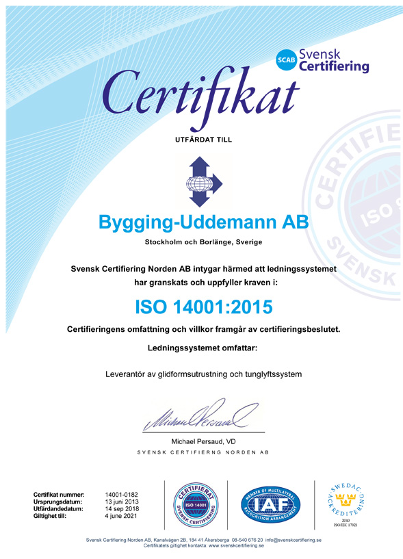 Bygging Uddemann ISO 14001 sv