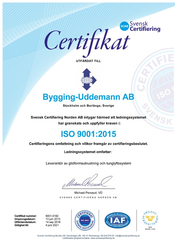 Bygging Uddemann ISO 9001 sv