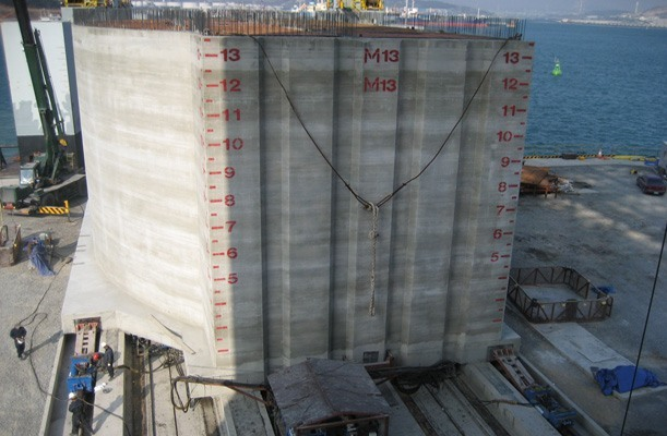 Transfer of Caissons for Breakwater Wall - Ulsan, Korea